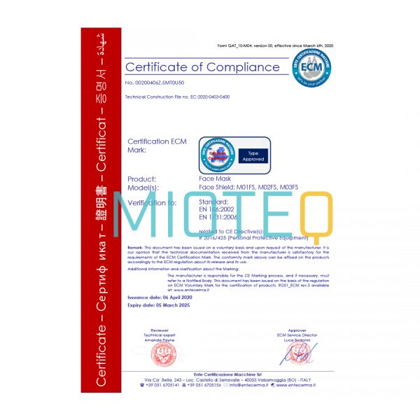 Mioteq Face Shield CE Certificate